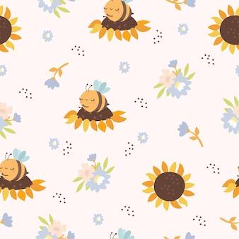 Padrão sem emenda com abelhas e girassóis