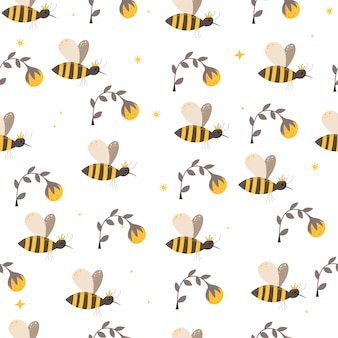 Padrão sem emenda com abelhas em estilo escandinavo. desenho à mão