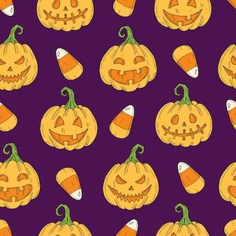 Padrão sem emenda com abóbora jack colorido de halloween