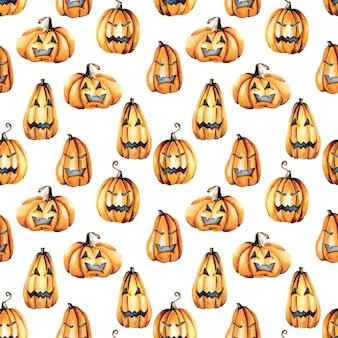 Padrão sem emenda com abóboras de halloween em aquarela