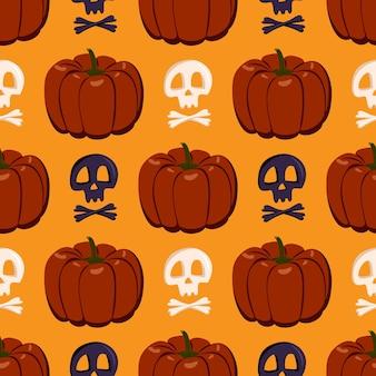 Padrão sem emenda com abóboras e caveiras. decoração festiva de outono para o halloween. fundo do feriado de outubro