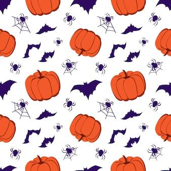 Padrão sem emenda com abóboras, morcegos e aranhas. decoração de festa de halloween. fundo festivo para papel, têxteis, férias e design