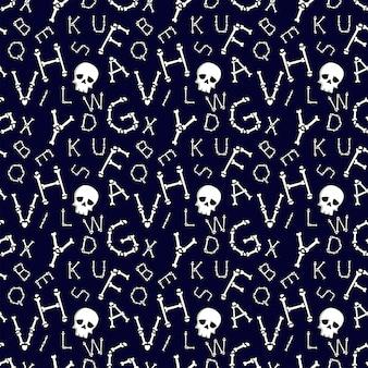 Padrão sem emenda com alfabeto latino de fonte assustadora de ossos