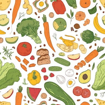 Padrão sem emenda com alimentos saudáveis, produtos de mercearia, frutas orgânicas, frutas e vegetais em fundo branco.