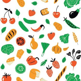 Padrão sem emenda com alimentos saudáveis, produtos orgânicos.