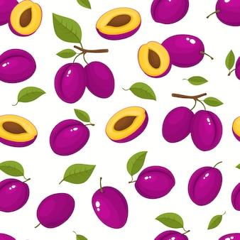 Padrão sem emenda com ameixas dos desenhos animados, isolado no branco, brilhante fatia de frutas saborosas.