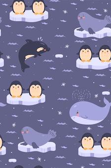 Padrão sem emenda com animais bonitos da antártica.