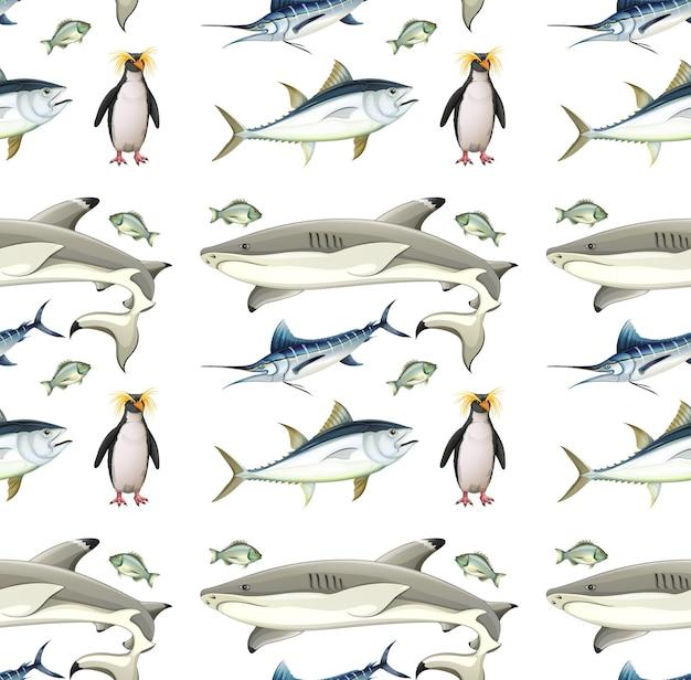 Padrão sem emenda com animais da antártica em fundo branco