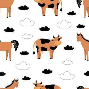 Padrão sem emenda com animais de fazenda bonitos em um fundo branco. vaca e cavalo. ilustração vetorial plana