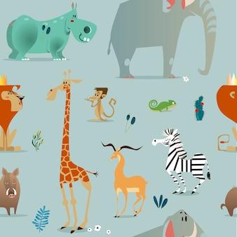 Padrão sem emenda com animais de safári fofos de desenho animado
