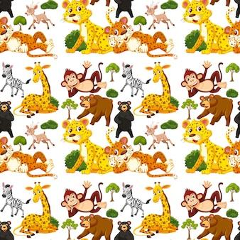 Padrão sem emenda com animais selvagens fofos em fundo branco