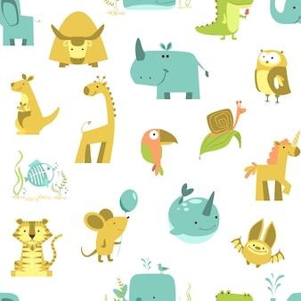Padrão sem emenda com animais vetor de animais fofos. conjunto de ilustração do zoológico