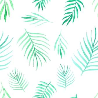 Padrão sem emenda com aquarela de folhas. ilustração vetorial