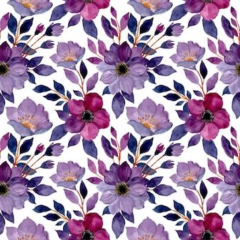 Padrão sem emenda com aquarela flor roxa