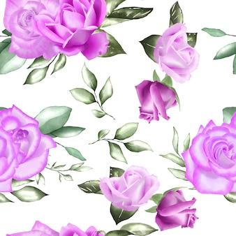 Padrão sem emenda com aquarela floral e folhas