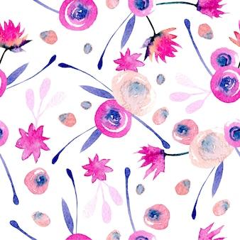 Padrão sem emenda com aquarela flores abstratas