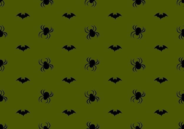 Padrão sem emenda com aranhas e morcegos em fundo verde decoração de festa de halloween impressão festiva ...