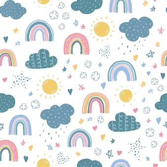 Padrão sem emenda com arco-íris e nuvens