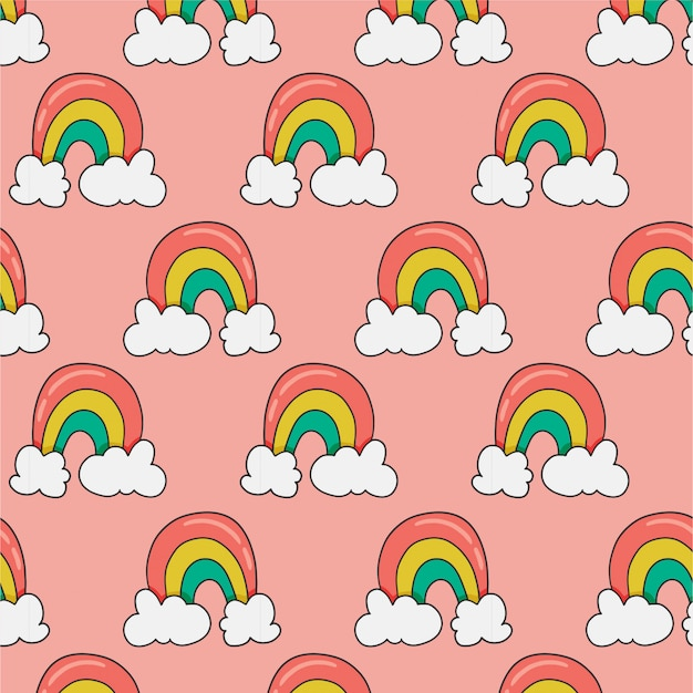 Padrão sem emenda com arco-íris na rosa