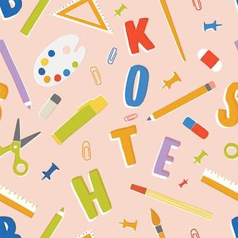 Padrão sem emenda com artigos de papelaria, suprimentos e acessórios para aulas, itens para a educação. volta para o pano de fundo da escola. ilustração colorida em estilo cartoon plana para papel de embrulho, papel de parede