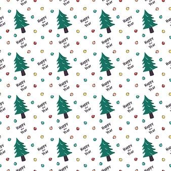 Padrão sem emenda com árvore de natal e bolas de guirlanda impressão festiva para ano novo e férias de inverno.