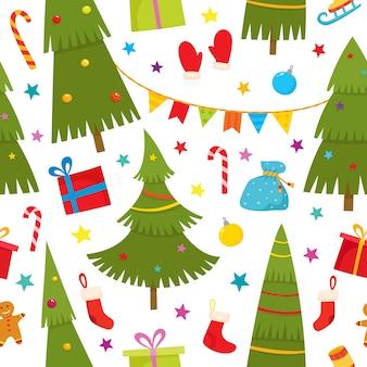 Padrão sem emenda com árvore de natal e presentes