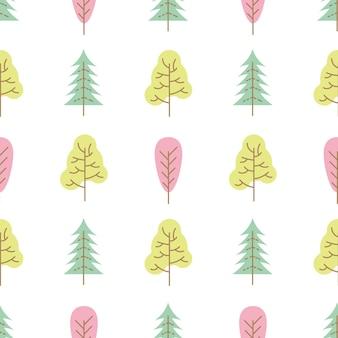 Padrão sem emenda com árvores coloridas em fundo branco. ilustração vetorial.