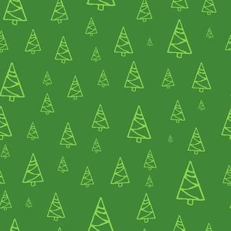 Padrão sem emenda com árvores de natal de mão desenhada. abetos esboçados. elementos de doodle de férias de inverno. ilustração vetorial