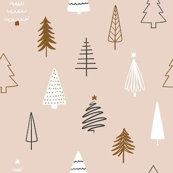 Padrão sem emenda com árvores de natal desenhadas à mão abstrata