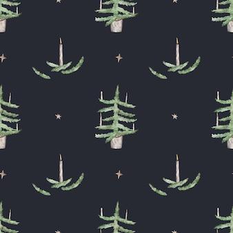 Padrão sem emenda com árvores de natal e velas