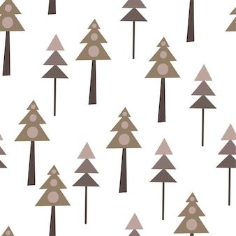 Padrão sem emenda com árvores de natal em estilo escandinavo. desenho à mão