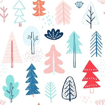 Padrão sem emenda com árvores fofas de inverno. fundo colorido infantil