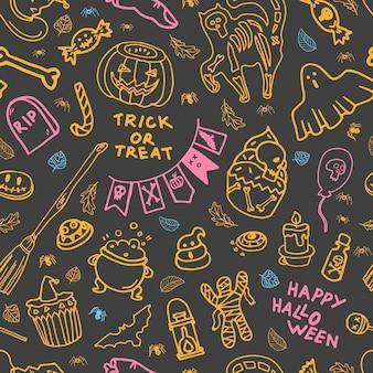 Padrão sem emenda com atributos de halloween em fundo cinza ilustração vetorial fantasma de biscoito