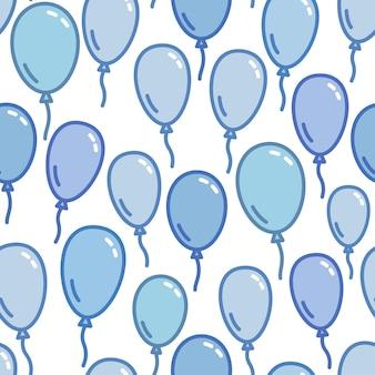 Padrão sem emenda com balões azuis ingênuo e fundo simples vetor de papel de parede azul