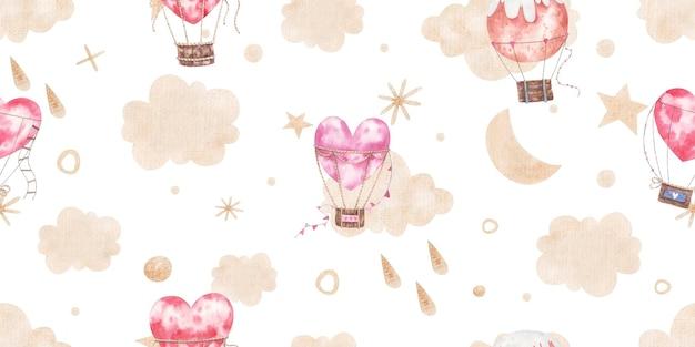 Padrão sem emenda com balões de ar quente, nuvens, pontos, estrelas feitas de ouro, ilustração infantil fofa