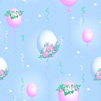 Padrão sem emenda com balões e buquês de flores