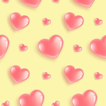 Padrão sem emenda com balões em forma de coração rosa.