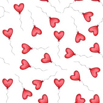 Padrão sem emenda com balões em forma de coração vermelho. padrão de dia dos namorados. ilustração vetorial