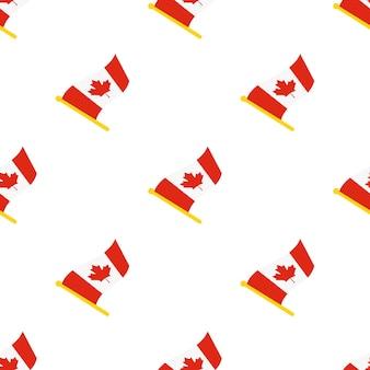 Padrão sem emenda com bandeiras do canadá no mastro de bandeira no fundo branco.