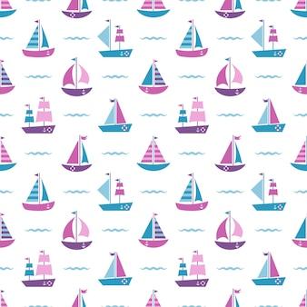 Padrão sem emenda com barcos e ondas azuis