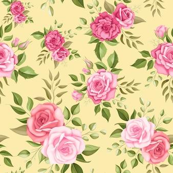 Padrão sem emenda com belas flores e folhas