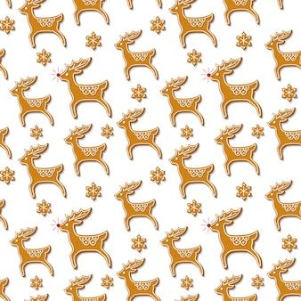Padrão sem emenda com biscoitos de gengibre de natal em forma de uma rena e flocos de neve em um fundo branco. ..