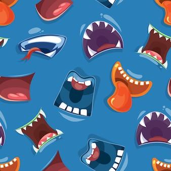 Padrão sem emenda com bocas de monstro dos desenhos animados de cor