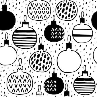 Padrão sem emenda com bolas de natal em preto e branco