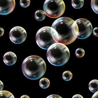 Padrão sem emenda com bolhas coloridas.