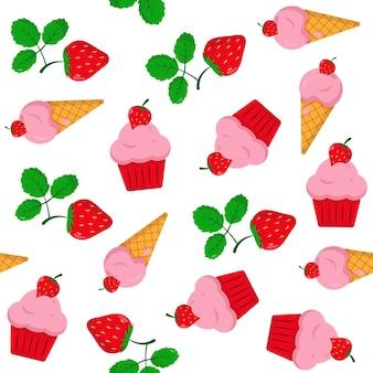 Padrão sem emenda com bolos de morangos e sorvete elementos doces brilhantes em branco