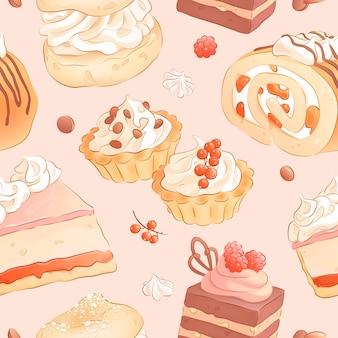 Padrão sem emenda com bolos e frutas desenhados à mão