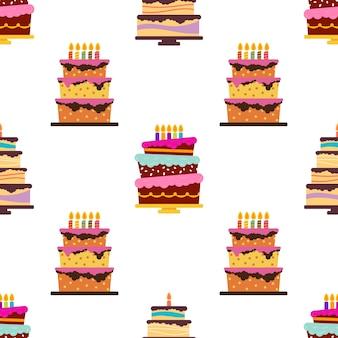 Padrão sem emenda com bolos e tortas doces. ilustração vetorial.