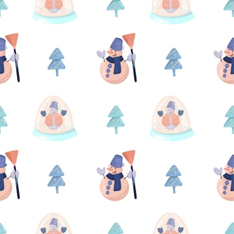 Padrão sem emenda com boneco de neve engraçado com uma vassoura, árvores de natal simples e globo de vidro de neve