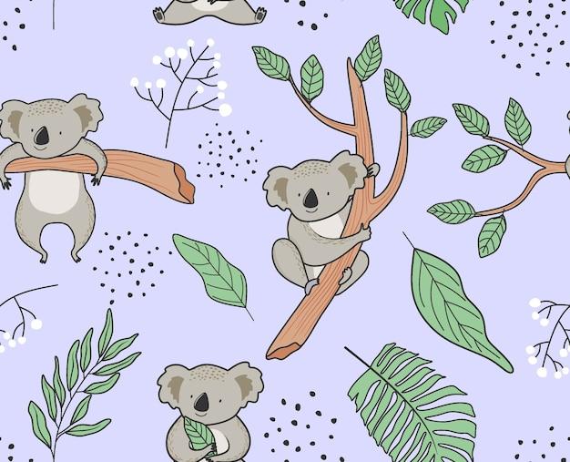 Padrão sem emenda com bonito coala.